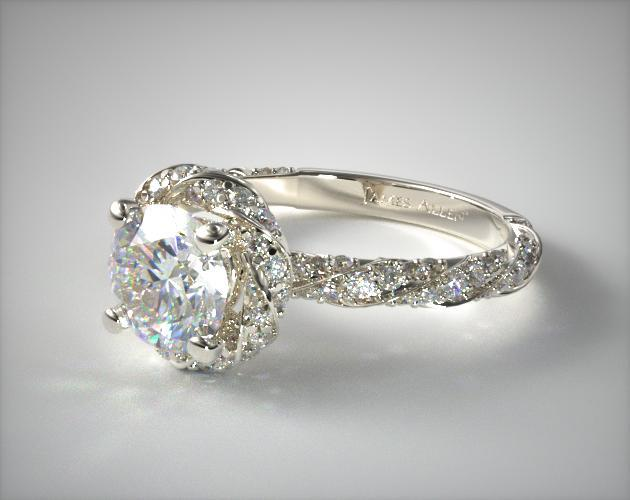 Twisted Pave Halo Engagement Ring 14k White Gold 17037w14