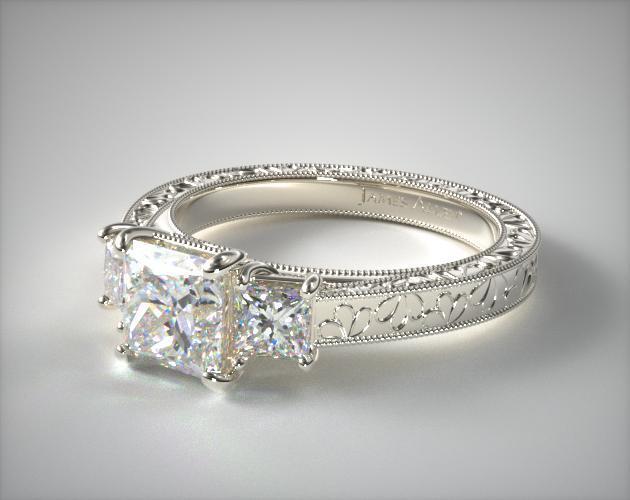 17064w14 Hand Engraved Three Stone Princess Diamond