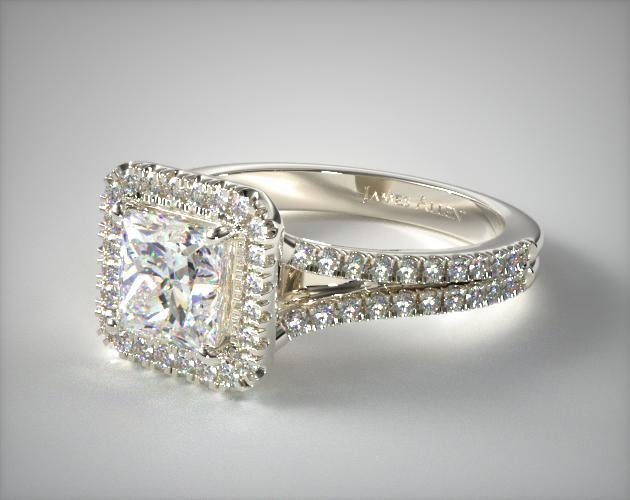 Split Shank Princess Shape Diamond Halo Engagement Ring