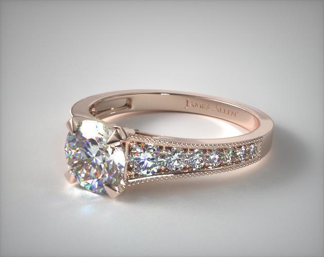 Reverse Taper Milgrain Diamond Engagement Ring 14k Rose