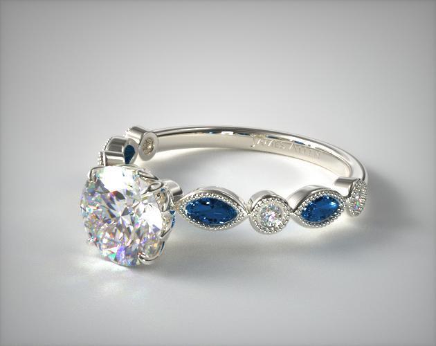 17083w14 Vintage Round Diamond And Marquise Sapphire