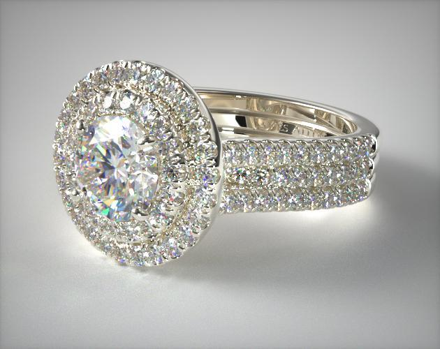 Triple Row Pave Halo Engagement Ring 14k White Gold