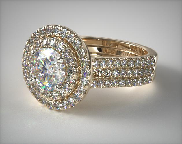 Triple Row Pave Halo Engagement Ring 14k Yellow Gold