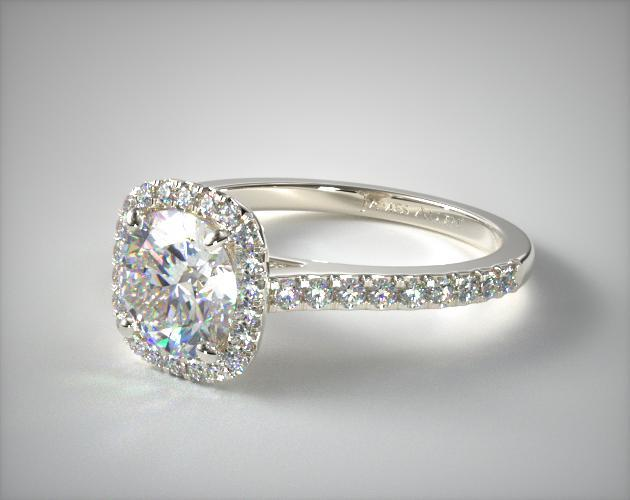 Cushion Outline Pave Engagement Ring 14k White Gold