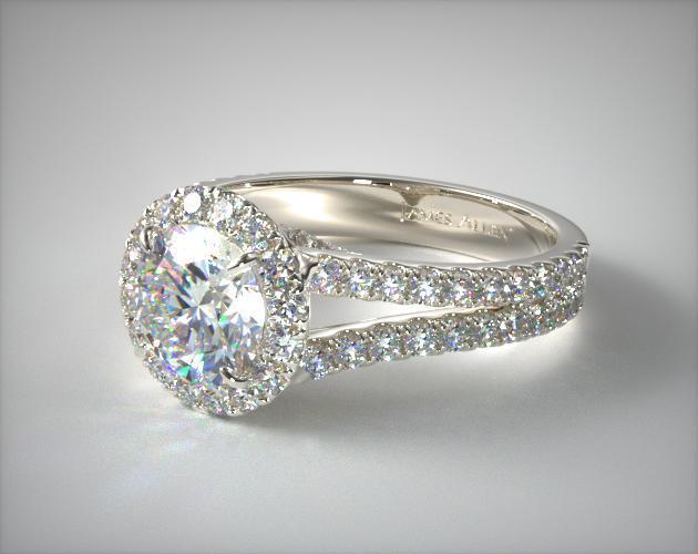 Round Split Band Diamond Halo Engagement Ring | 14K White ...