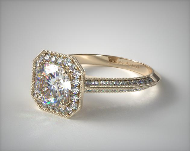 Octagon Halo Diamond Engagement Ring 18k Yellow Gold