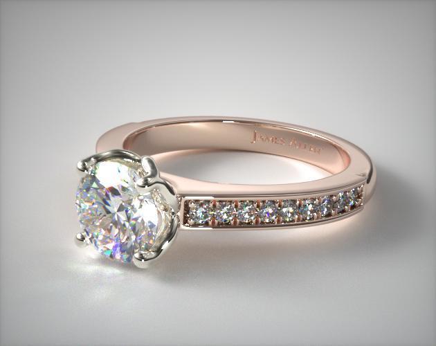 Bead Set Cathedral Diamond Engagement Ring  14k Rose Gold. Pink Gold Wedding Rings. Stunning Engagement Rings. Wire Engagement Rings. India Man Engagement Rings. Diamond Frame Engagement Rings. Native American Rings. Outdoorsy Wedding Rings. Iolite Rings