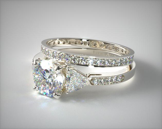 1713214019w Three Stone Pave Diamond Engagement Ring And