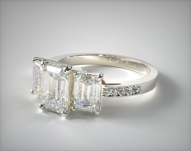 Three Stone Emerald And Pave Set Diamond Engagement Ring