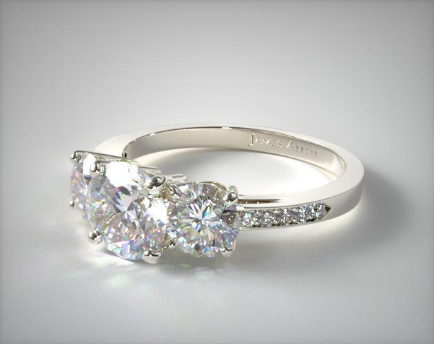 17135w Three Stone Round And Pave Set Diamond Engagement