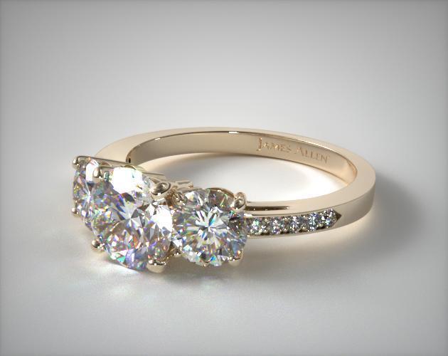 17135y Three Stone Round And Pave Set Diamond Engagement