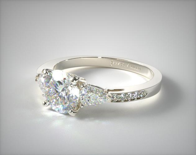 Three stone pear and pave set diamond engagement ring for Three stone wedding ring set