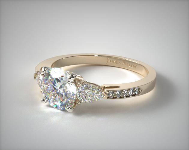 17136y three stone pear and pave set diamond engagement for Starting a jewelry business in canada