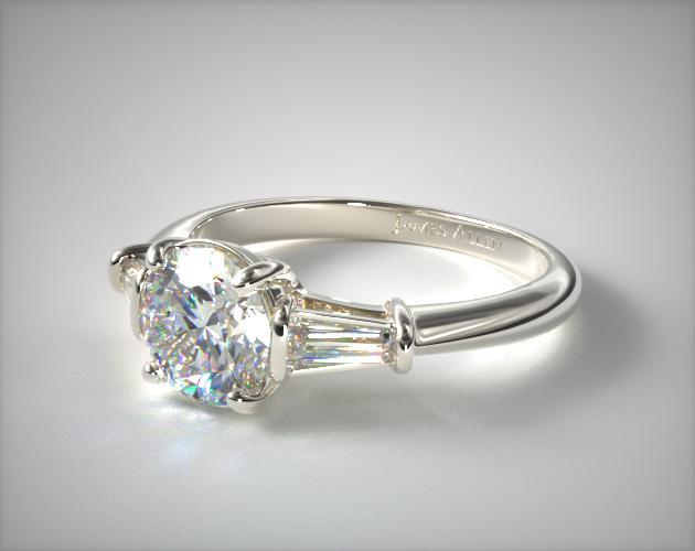 14k White Gold Tapered Baguette G H Diamond Engagement