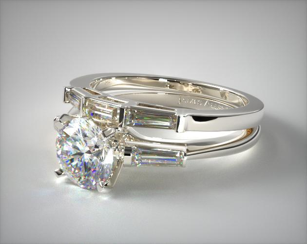 Tapered Baguette Diamond Wedding Set 18k White Gold