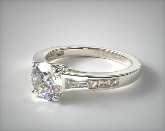 Engagement Rings Channel Set Platinum Tapered Baguette