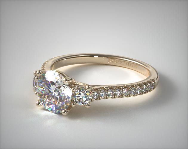 Three Stone Micro Pave Diamond Engagement Ring 14k