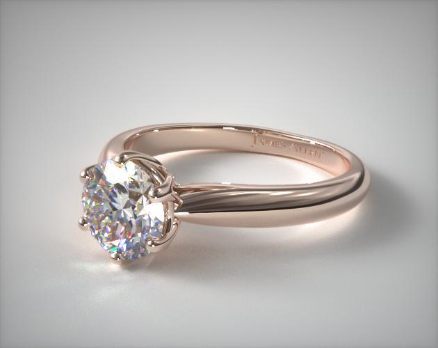 engagement rings  solitaire  14k rose gold modern tulip