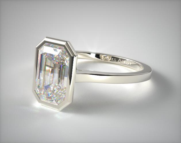 Bezel Solitaire Engagement Ring Emerald 14k White Gold