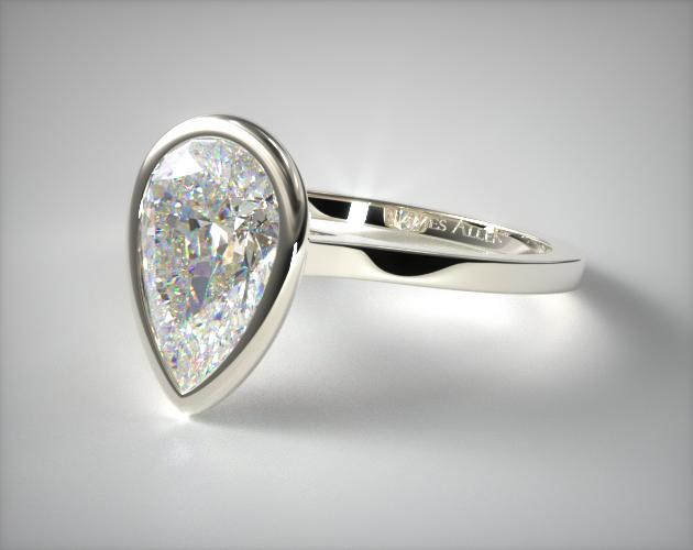 14k White Gold Bezel Solitaire Engagement Ring Pear