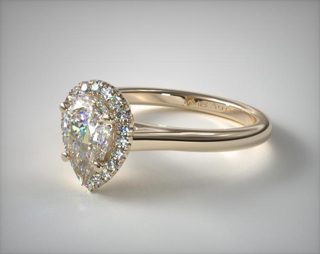 Pave Halo Diamond Engagement Ring Pear Center 14k