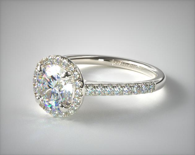 Pave Halo And Shank Diamond Engagement Ring Round 14k