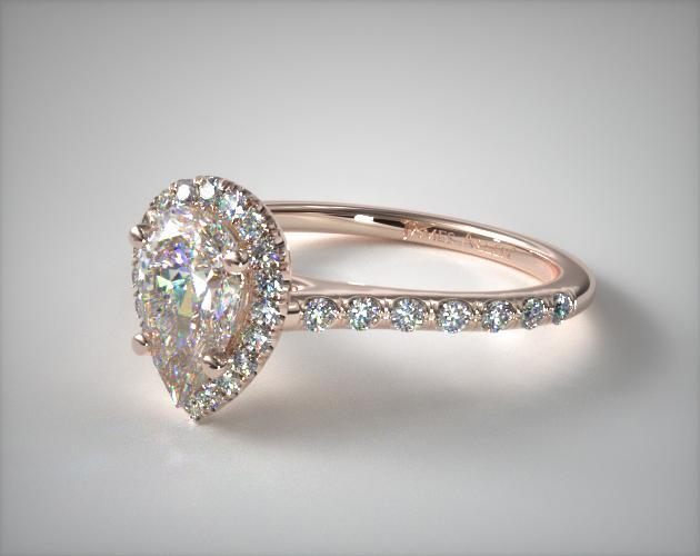 Rose Gold Pear Shaped Diamond Engagement Ring