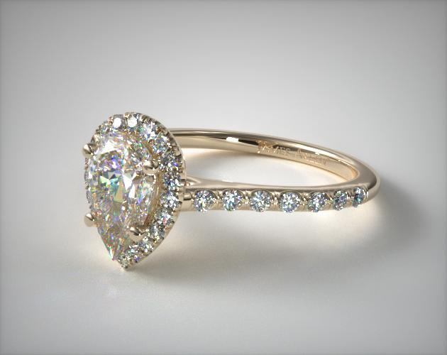 17306y Pave Halo And Shank Diamond Engagement Ring Pear