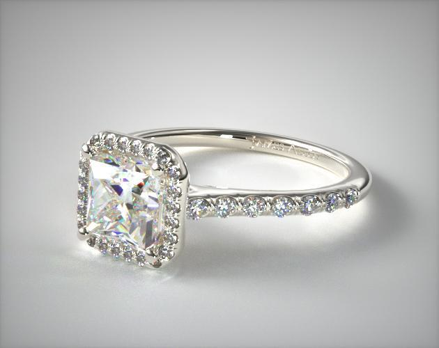 17308p Pave Halo And Shank Diamond Engagement Ring