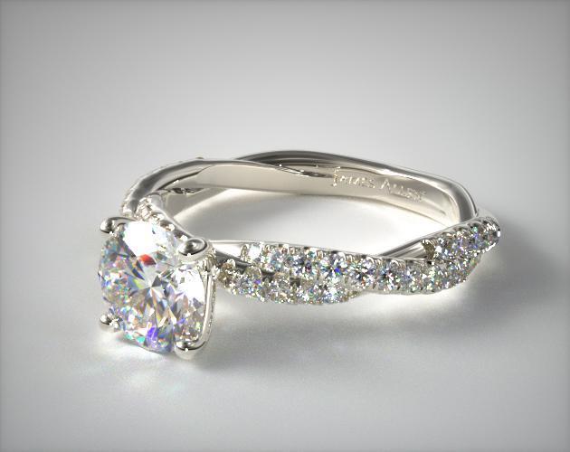 Pave Twist White Diamond Engagement Ring 14k White Gold