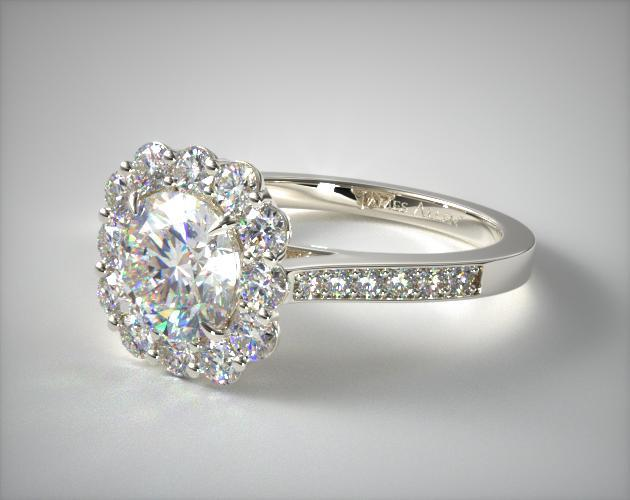 Grande Diamond Halo Engagement Ring 14k White Gold