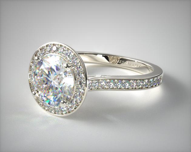 Trellis Halo Diamond Engagement Ring 14k White Gold
