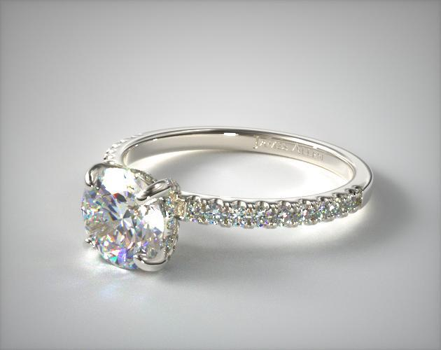 Petite Pave Crown Diamond Engagement Ring 14k White Gold