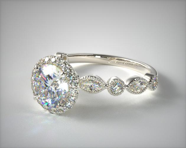Marquise And Round Diamond Halo Engagement Ring 14k