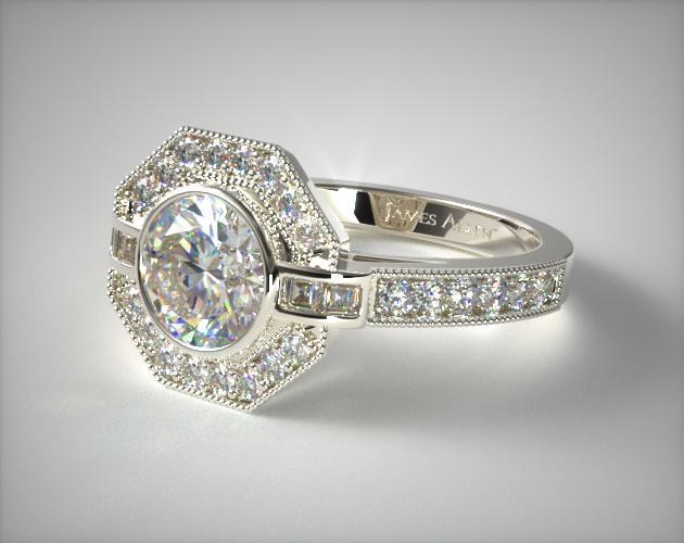 Art Deco Inspired Octagonal Halo Engagement Ring 14k