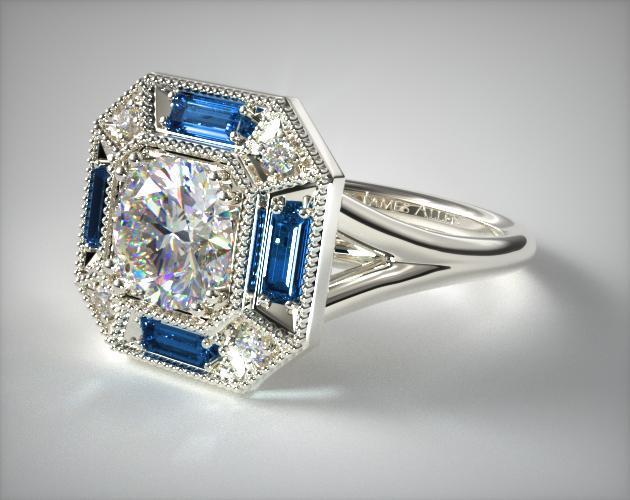 Sapphire Baguette Milgrain Halo Engagement Ring Platinum