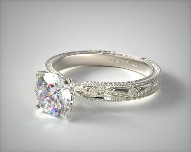 Engraved Solitaire Engagement Ring 14k White Gold 17488w14