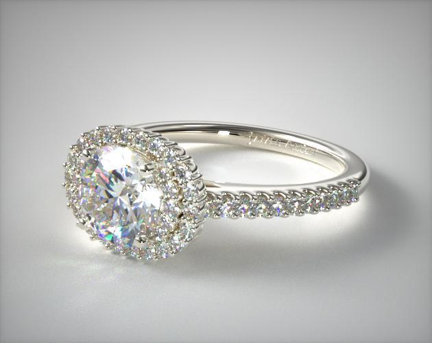 Engagement Rings Halo 14k White Gold East West Oval Halo