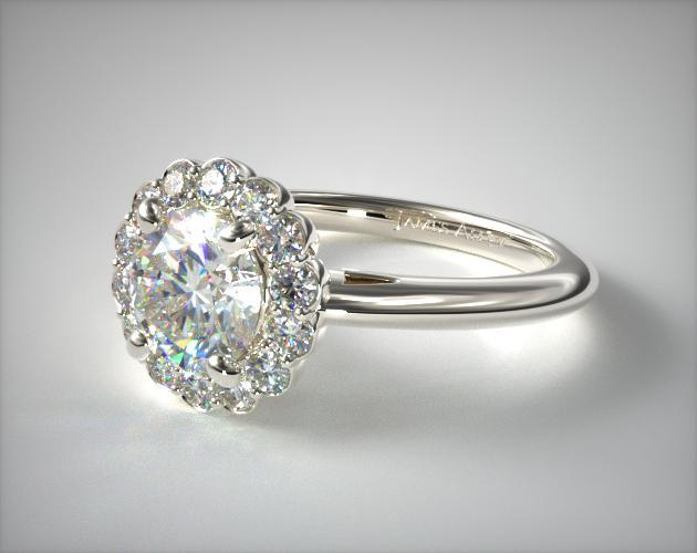Floral Halo Engagement Ring 14k White Gold James Allen