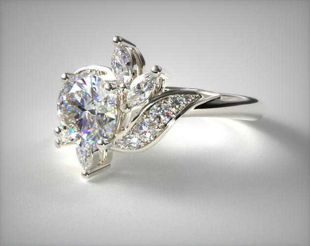 Bird Of Paradise Engagement Ring 14k White Gold 17678w14