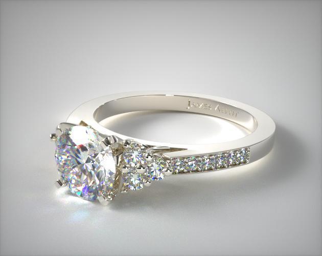 Pave Trio Engagement Ring 14k White Gold James Allen