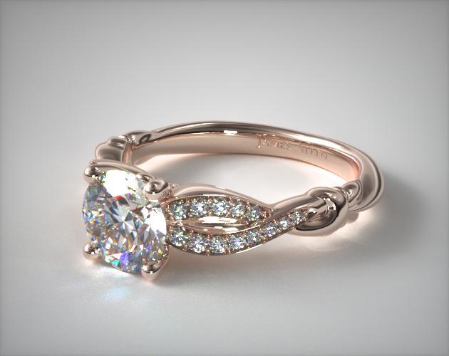 Pave Crossover Engagement Ring 14k Rose Gold James