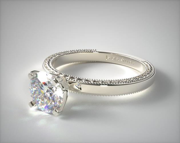 Etched Profile Solitaire Engagement Ring 14k White Gold