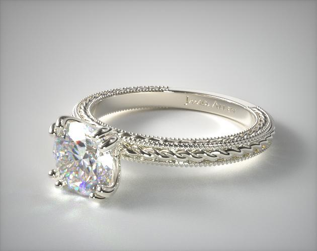Etched Rope Solitaire Engagement Ring 14k White Gold