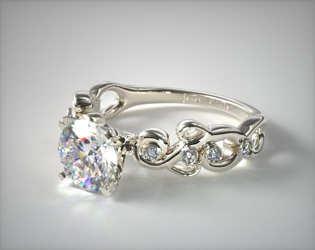 Blossoming Vine Diamond Engagement Ring 14k White Gold