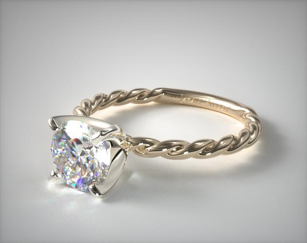 Cable Solitaire Engagement Ring 18k Yellow Gold 17970y