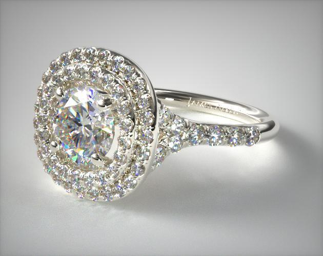 17973w14 Split Shank Double Halo Pave Diamond Engagement