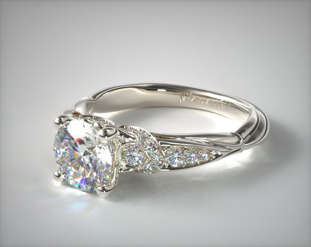 Platinum Graduated Pave Engagement Ring 17861p