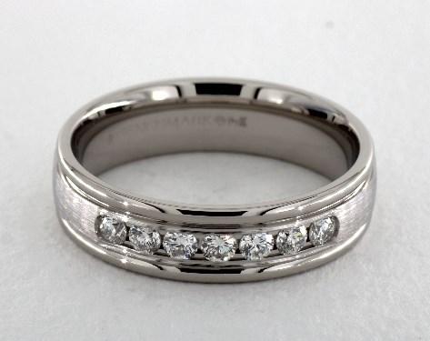 6mm Channel Set Diamond Wedding Ring Platinum James