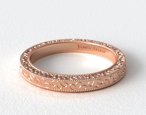Wedding Rings Matching Bands 14k Rose Gold Hand Engraved